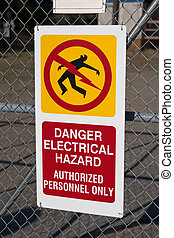 Electrical hazard sign, authorized personnel only on...