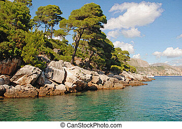 Beautiful summer landscape with turquoise sea and pine tree...