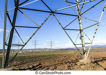 High voltage pylons tower