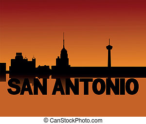 San Antonio skyline at sunset - San Antonio skyline...