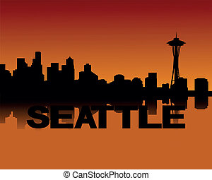 Seattle skyline at sunset - Seattle skyline reflected at...