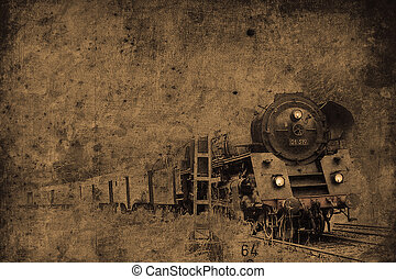steam locomotive - old steam locomotive in retro design look