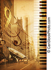 Broadway - old historical new york background with broadway