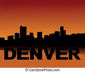 Denver skyline at sunset - Denver skyline reflected at...