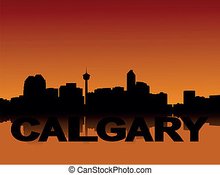 Calgary skyline at sunset - Calgary skyline reflected at...