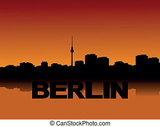Berlin skyline at sunset - Berlin skyline reflected at...