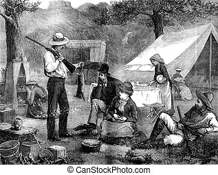 Camp on the banks of the Colorado Back from hunting, vintage...