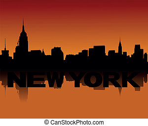 New York skyline at sunset - New York skyline reflected at...