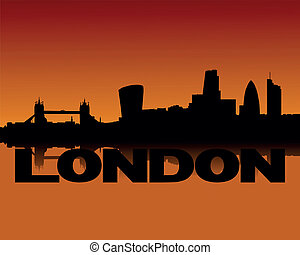 London skyline at sunset