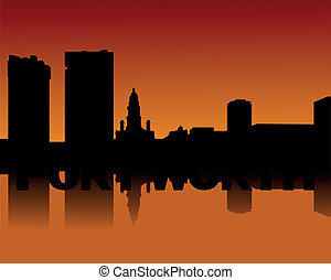 Fort Worth skyline at sunset - Fort Worth skyline reflected...