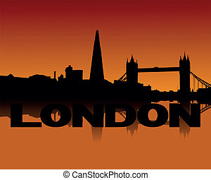 London skyline at sunset - London skyline reflected at...