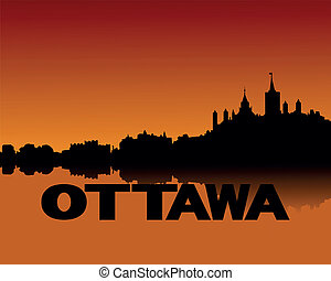 Ottawa skyline at sunset - Ottawa skyline reflected at...