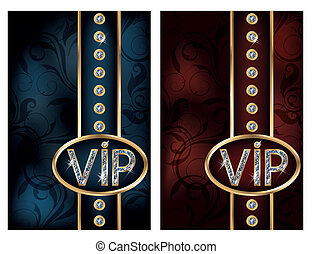 Two diamond VIP cards, vector illustration
