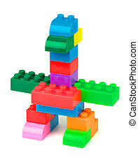 Bird made from colorful toy building blocks