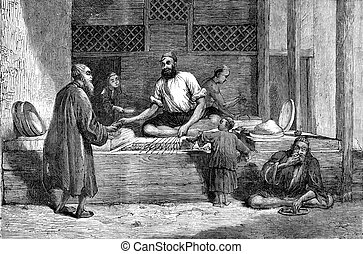 Afghanistan. A merchant of Kabul, vintage engraving. -...