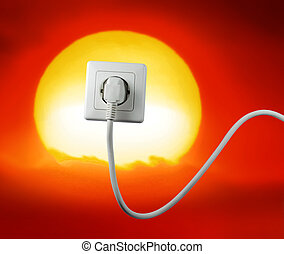 free energy - white socket on a bautiful sunset free energy