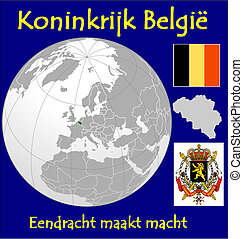 Belgium motto - Belgium location flag coat motto