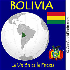 Bolivia motto - Bolivia location flag coat motto