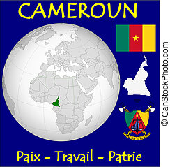 Cameroon motto - Cameroon location flag coat motto