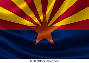 Arizona State Flag - 3D rendering of the flag of Arizona on...