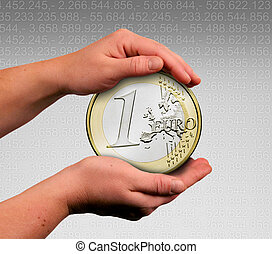 save the euro - the saving of the euro with both hands