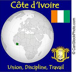 Cote d'Ivoire motto - Cote d'Ivoire location flag coat motto