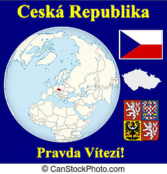 Czech republic motto - Czech republic location flag coat...