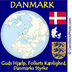 Denmark motto - Denmark location flag coat motto