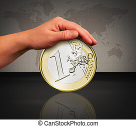 save the euro - the saving of the euro by a protecting hand