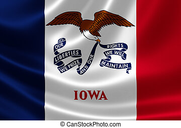 Iowa State Flag - 3D rendering of the flag of Iowa on satin...