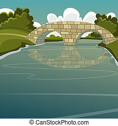 The Bridge - Cartoon illustration of the stone bridge over...