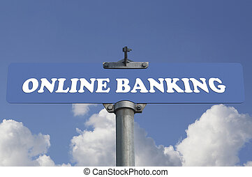 Online banking road sign