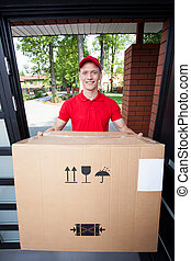 Delivery guy handing in box - Delivery man handing in a...
