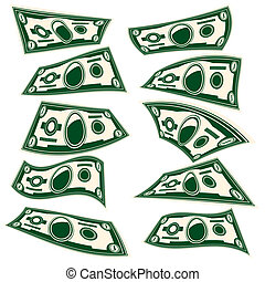 one dollar - Vector Illustration setbstylized image of a...