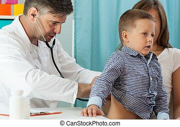 doutor, Escutar, Menino, pulmões