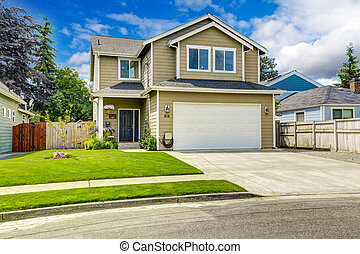 Two story house exterior with front yard landscape - Two...