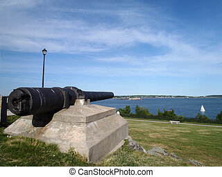 Historic Gun pointing into Casco Bay at Fort Allen Park