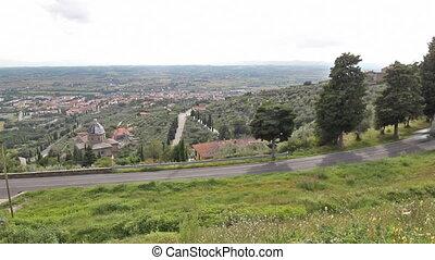 Tuscan landscape - Val di Chiana overview from Cortona;...