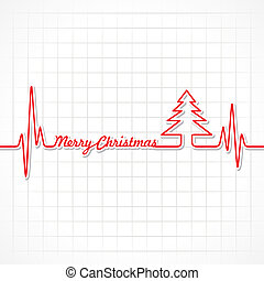 Heartbeat make Merry Christmas text and tree stock vector
