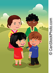 Multi-ethnic kids playing together - A vector illustration...