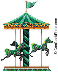 A green carrousel ride - Illustration of a green carrousel...