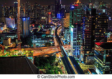 Traffic and transportation of Bangkok by night, Thailand