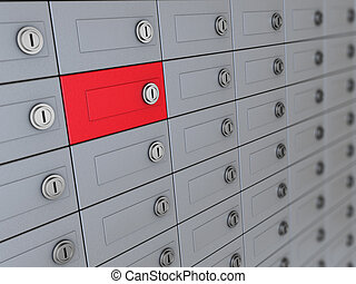 depository - 3d illustration of deposit boxes with one red