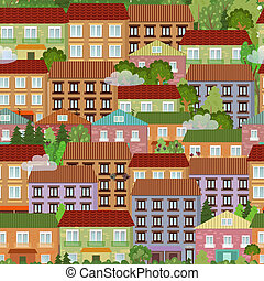 seamless texture with cute houses