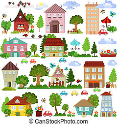 Collection a cartoon houses and trees for you design