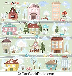 winter landscape with cartoon houses and trees for you design
