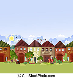 seamless border with cute houses and trees for you design