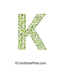 Spring green leaves eco letter K
