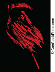Grim Reaper - Sketch illustration of grim reaper on black...