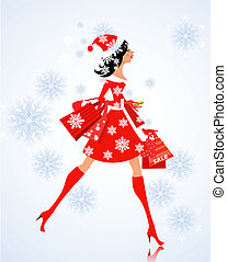 fashion young woman santa with purchase